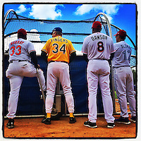 COOPERSTOWN, NY - MAY 24:  Instagram of Eddie Murray, Rollie Fingers, Andre Dawson, and Roberto Alomar on the field before the Hall of Fame Classic game at Doubleday Field on May 24, 2014 in Cooperstown, New York. Photo by Brad Mangin