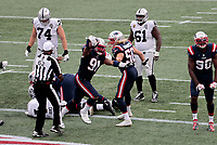 27th September 2020, Foxborough, New England, USA;  New England Patriots defensive lineman Deatrich Wise Jr. (91) reacts to his touchdown after recovering a fumble in the end zone during the game between the New England Patriots and the Las Vegas Raiders