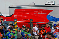 """Mark Weber, U-36 """"Miss U. S."""" (1956 Lauterbach Hydroplane) and faces in the crowd"""