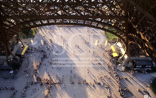 Paris, France. Looking down from the Eiffel Tower.