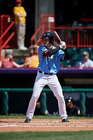 Erie SeaWolves Chad Sedio (27) at bat during an Eastern League game against the Akron RubberDucks on June 2, 2019 at UPMC Park in Erie, Pennsylvania.  Erie defeated Akron 8-5 in eleven innings in the second game of a doubleheader.  (Mike Janes/Four Seam Images)