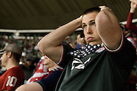 USA fans respond to a play during the USA vs. Mexico World Cup Qualifier in Azteca stadium in Mexico City, Mexico on March 26, 2013.