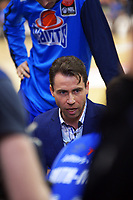 Saints coach Zico Coronel talks to his team during the National Basketball League Final Four final between Wellington Saints and Hawkes Bay Hawks at Te Rauparaha Arena in Porirua, New Zealand on Friday, 23 July 2021. Photo: Dave Lintott / lintottphoto.co.nz