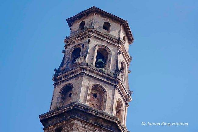 The campanar or belltower of the church of Sant Nicolau in Palma de Mallorca, Spain. The church dates from the 14th Century but little remains of the original structure and the present building is mainly the result of reconstructions in the 15th and 17th Centuries.
