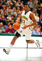 30 January 2010: University of Vermont Catamount forward Marqus Blakely (23), a Senior from Metuchen, NJ, in action against the University at Albany Great Danes at Patrick Gymnasium in Burlington, Vermont. The Catamounts defeated the Danes 64-46 in the America East matchup. Mandatory Credit: Ed Wolfstein Photo