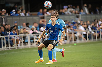 SAN JOSE, CA - AUGUST 17: Paul Marie #3 of the San Jose Earthquakes heads the ball during a game between San Jose Earthquakes and Minnesota United FC at PayPal Park on August 17, 2021 in San Jose, California.