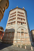 Exterior of the octagonal  Romanesque Baptistery of Parma, circa 1196, (Battistero di Parma), Italy
