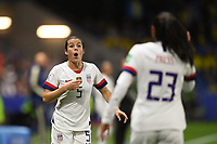 LE HAVRE, FRANCE - JUNE 20: Kelley O'Hara #5, Christen Press #23 during a 2019 FIFA Women's World Cup France group F match between the United States and Sweden at Stade Océane on June 20, 2019 in Le Havre, France.