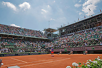 France, Paris , May 24, 2015, Tennis, Roland Garros, Court Philippe Charter (Centercourt) with Roger Federer (SUI)<br /> Photo: Tennisimages/Henk Koster