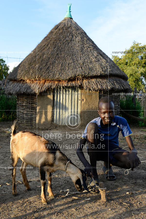 ETHIOPIA, Gambela, region Itang, Nuer village Pilual, boy Bhan 12 years old keeps the goats / AETHIOPIEN, Gambela, Region Itang, Dorf Pilual der Ethnie NUER, Hof von Herr Mun Kunen und Frau Neelam , sie sind vor dem Buergerkrieg aus dem Suedudan gefluechtet, Sohn Bhan 12 Jahre huetet Ziegen