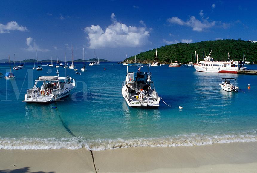 Caribbean, St. John, U.S. Virgin Islands, USVI, Boats in Cruz Bay on Saint John Island.
