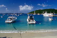 Caribbean, St. John, U.S. Virgin Islands, USVI, Boats in Cruz Bay on Saint John Island.