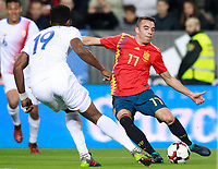 Spain's Iago Aspas (r) and Costa Rica's Kendall Waston during international friendly match. November 11,2017.(ALTERPHOTOS/Acero) /NortePhoto.com