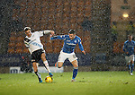 St Johnstone v Dundee....27.11.15  SPFL  McDiarmid Park, Perth<br /> Michael O'Halloran battles with Kevin Holt during a rain/sleet storm at McDiarmid Park<br /> Picture by Graeme Hart.<br /> Copyright Perthshire Picture Agency<br /> Tel: 01738 623350  Mobile: 07990 594431