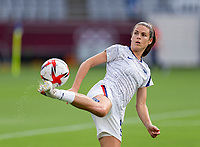TOKYO, JAPAN - JULY 21: Kelley O'Hara #5 of the USWNT warms up before a game between Sweden and USWNT at Tokyo Stadium on July 21, 2021 in Tokyo, Japan.