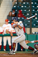 Michael Benjamin #9 of the Arizona State Sun Devils bats against the USC Trojans at Dedeaux Field on April 12, 2013 in Los Angeles, California. USC defeated Arizona State, 5-0. (Larry Goren/Four Seam Images)