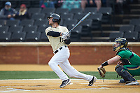 Bruce Steel (17) of the Wake Forest Demon Deacons follows through on his swing against the Notre Dame Fighting Irish at David F. Couch Ballpark on March 10, 2019 in  Winston-Salem, North Carolina. The Demon Deacons defeated the Fighting Irish 7-4 in game one of a double-header.  (Brian Westerholt/Four Seam Images)