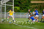 Kerry's Jill Quirke's effort deflected out for a 45 as Tipperary's full back Anna Phelan blocks her effort in the Munster LGFA U14 football championship