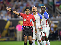 Houston, TX - Tuesday June 21, 2016: Enrique Caceres, Michael Bradley, Gyasi Zardes during a Copa America Centenario semifinal match between United States (USA) and Argentina (ARG) at NRG Stadium.