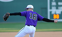 RHP Ben Carlson (16) of the Furman Paladins pitches in a game against the Miami (Ohio) Redhawks on Sunday, February 17, 2013, at Fluor Field at the West End in Greenville, South Carolina. Furman won, 6-5. (Tom Priddy/Four Seam Images)