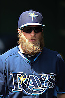 Tampa Bay Rays second baseman Ryan Brett (29) before a Spring Training game against the Baltimore Orioles on March 14, 2015 at Ed Smith Stadium in Sarasota, Florida.  Tampa Bay defeated Baltimore 3-2.  (Mike Janes/Four Seam Images)