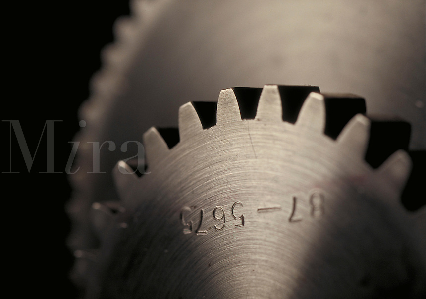 Monochromatic abstract photo of gears. Houston Texas USA.