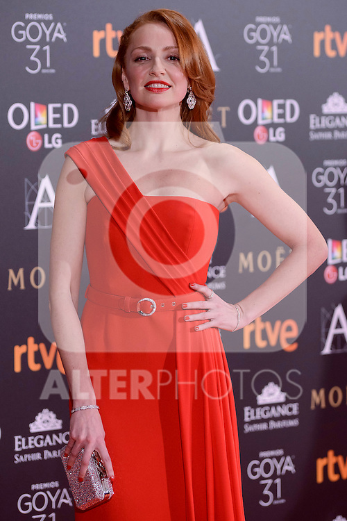 Cristina Castaño attends to the Red Carpet of the Goya Awards 2017 at Madrid Marriott Auditorium Hotel in Madrid, Spain. February 04, 2017. (ALTERPHOTOS/BorjaB.Hojas)