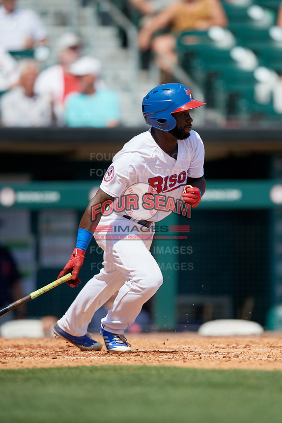 Buffalo Bisons right fielder Roemon Fields (4) follows through on a swing during a game against the Pawtucket Red Sox on June 28, 2018 at Coca-Cola Field in Buffalo, New York.  Buffalo defeated Pawtucket 8-1.  (Mike Janes/Four Seam Images)