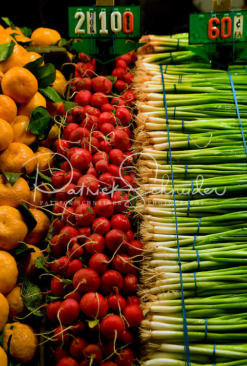 Vegetables on sale at Pike Place Market in Seattle Washington.