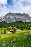 Italy, South Tyrol (Trentino - Alto Adige), near La Valle: Pra d'Armentara (Armentara-Meadows) with Gruppo di Fanis mountains and summit Sasso di Santa Croce at Fanes-Sennes-Prags Nature Park | Italien, Suedtirol, bei Wengen: Armentara-Wiesen (Pra d'Armentara) vor der Fanesgruppe mit Gipfel Heiligkreuzkofel (Sasso di Santa Croce) im Naturpark Fanes-Sennes-Prags
