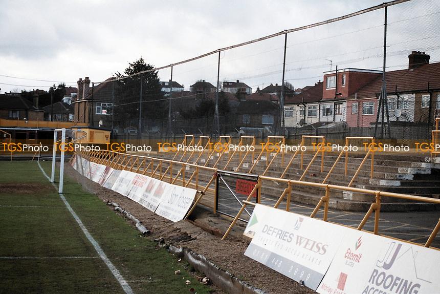 Terracing at Barnet FC Football Ground, Underhill Stadium, Barnet, London, pictured on 10th February 1996
