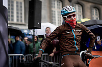 a foul-weather prepped Romain Bardet (FRA/AG2R-La Mondiale) on the start line<br /> <br /> 105th Liège-Bastogne-Liège 2019 (1.UWT)<br /> One day race from Liège to Liège (256km)<br /> <br /> ©kramon
