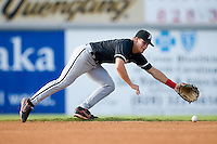 Shortstop Gordon Beckham (8) of the Kannapolis Intimidators makes a diving attempt at a ground ball up the middle at L.P. Frans Stadium in Hickory, NC, Sunday August 17, 2008. (Photo by Brian Westerholt / Four Seam Images)