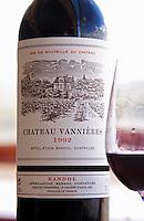 Bottle and glass of Ch Vannieres 1992 Chateau Vannieres (Vannières) La Cadiere (Cadière) d'Azur Bandol Var Cote d'Azur France