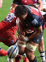 30th September 2020; Ashton Gate Stadium, Bristol, England; Premiership Rugby Union, Bristol Bears versus Leicester Tigers; Steven Luatua of Bristol Bears loses the ball forwards in the tackle from Johnny McPhillips of Leicester Tigers