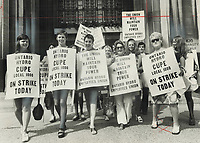 Ontario Hydro workers; now carrying on a series of rotating strikes; are one group among many public service employees who have walked out this year. Such strikes are built into our economic system; says Walter Pitman.<br /> <br /> Photo : Boris Spremo - Toronto Star archives - AQP