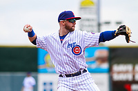 Iowa Cubs third baseman Trent Giambrone (6) makes a throw to first base between innings during a Pacific Coast League game against the San Antonio Missions on May 2, 2019 at Principal Park in Des Moines, Iowa. Iowa defeated San Antonio 8-6. (Brad Krause/Four Seam Images)