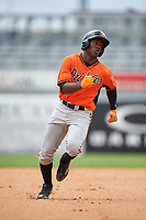 Akil Baddoo (2) of Salem High School in Conyers, Georgia playing for the Baltimore Orioles scout team during the East Coast Pro Showcase on July 28, 2015 at George M. Steinbrenner Field in Tampa, Florida.  (Mike Janes/Four Seam Images)