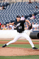 July 10th 2008:  Steven Wright of the Akron Aeros, Class-AA affiliate of the Cleveland Indians, during a game at Canal Park in Akron, OH.  Photo by:  Mike Janes/Four Seam Images