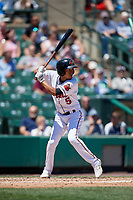 Rochester Red Wings shortstop Engelb Vielma (5) bats during a game against the Scranton/Wilkes-Barre RailRiders on June 7, 2017 at Frontier Field in Rochester, New York.  Scranton defeated Rochester 5-1.  (Mike Janes/Four Seam Images)
