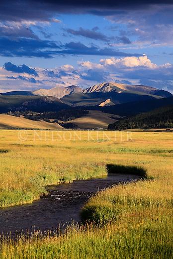 Flint Creek Mountain Range and grass meadows near Phillipsburg, Montana