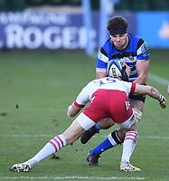 6th February 2021; Recreation Ground, Bath, Somerset, England; English Premiership Rugby, Bath versus Harlequins; Mike Brown of Harlequins tackles Josh Bayliss of Bath
