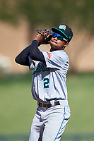 Salt River Rafters second baseman Jose Devers (2), of the Miami Marlins organization, catches a pop fly during the Arizona Fall League Championship Game against the Surprise Saguaros on October 26, 2019 at Salt River Fields at Talking Stick in Scottsdale, Arizona. The Rafters defeated the Saguaros 5-1. (Zachary Lucy/Four Seam Images)