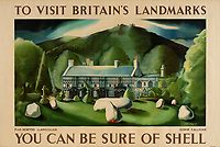 BNPS.co.uk (01202 558833)<br /> Pic: Lyon&Turnbull/BNPS<br /> <br /> Pictured: A poster featuring Plas Newydd in Llangollen is up for auction<br /> <br /> A vast collection of vintage Shell posters have sold at auction for almost £60,000.<br /> <br /> The group of 49 sheets were sold directly from the oil giant's archives and featured some incredibly rare designs from down the years.<br /> <br /> All of the posters had previously been used in Shell advertising campaigns, dating back to between the 1920s and 1950s.<br /> <br /> Many of the colourful designed featured the slogan 'You can be sure of Shell' and list people who preferred their fuel.