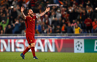 Roma s Daniele De Rossi celebrates at the end of the Uefa Champions League quarter final second leg football match between AS Roma and FC Barcelona at Rome's Olympic stadium, April 10, 2018. Roma won 3-0 (4-4 on aggregate) to join the semifinals.<br /> UPDATE IMAGES PRESS/Riccardo De Luca