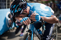 José Joaquín Rojas (ESP/Movistar) needing some recovery time at the finish in L'Aquila > he was in the day's breakaway and even the virtual overall leader at one point in the race... but not at the finish<br /> <br /> Stage 7: Vasto to L'Aquila (180km)<br /> 102nd Giro d'Italia 2019<br /> <br /> ©kramon
