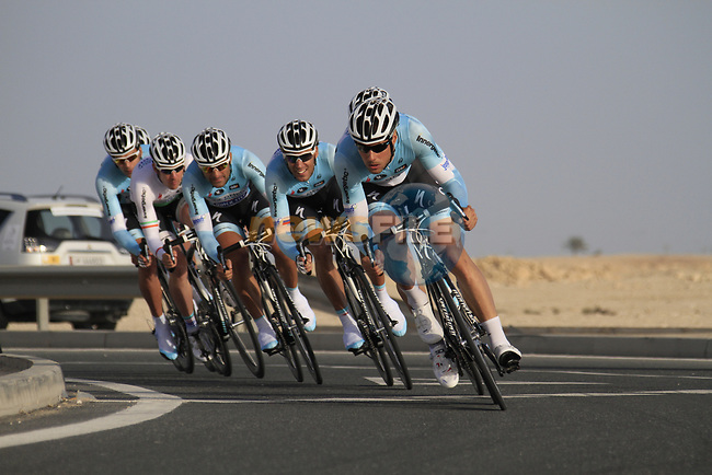 Omega Pharma-Quick Step team led by Tom Boonen (BEL) in action during the 2nd Stage of the 2012 Tour of Qatar an 11.3km team time trial at Lusail Circuit, Doha, Qatar. 6th February 2012.<br /> (Photo Eoin Clarke/Newsfile)