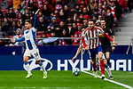 Saul Niguez of Atletico de Madrid and Oscar Melendo of RCD Espanyol during La Liga match between Atletico de Madrid and RCD Espanyol at Wanda Metropolitano Stadium in Madrid, Spain. November 10, 2019. (ALTERPHOTOS/A. Perez Meca)