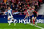 Saul Niguez of Atletico de Madrid and Oscar Melendo of RCD Espanyol during La Liga match between Atletico de Madrid and RCD Espanyol at Wanda Metropolitano Stadium in Madrid, Spain. November 10, 2019. (ALTERPHOTOS/A. Perez Meca)