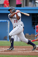 Mahoning Valley Scrappers first baseman Jesus Aguilar (25) during a game vs. the Batavia Muckdogs at Dwyer Stadium in Batavia, New York August 2, 2010.   Batavia defeated Mahoning Valley 6-3 in 10 innings.  Photo By Mike Janes/Four Seam Images
